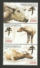 INDONESIA 2009 ZODIAC LUNAR NEW YEAR OF OX COMP. SET OF 3 STAMPS IN MINT MNH
