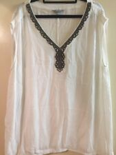suzanne grae 16 White V-neck Crinkle Top With Bronze Beaded Neckline