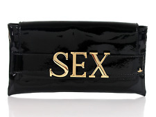 New Vivienne Westwood SEX Black Patent Leather Clutch Hand Bag $550