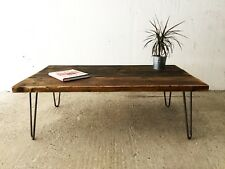 Industrial Reclaimed Timber Scaffold Board Coffee Table On Hairpin Legs Handmade