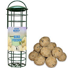 Simply Direct Plastic Fat Ball Suet Wild Bird Feeder with Pack of 6 Fatballs