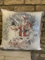 "Pottery Barn Holidays Christmas ~Nostalgic Santa Snowman Pillow- 20"" Square"