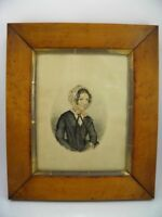 primitive portrait of a lady signed antique 19th century watercolour painting