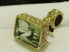 P050- Genuine 9ct Yellow GOLD Engraved NATURAL Green Amethyst Pendant Seal Fob