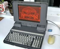 Vintage Toshiba T3200SX Laptop with Intel 80386CPU and Orange Gas Plasma display