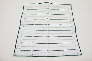 NWT Brunello Cucinelli Men's 2-Tone Striped + Polka Dot Print Pocket Square A201
