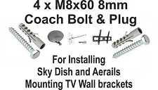 4 x M8X60 8mm Coach Bolt & Plugs Installing Sky Dish, Aerials, TV Wall Brackets