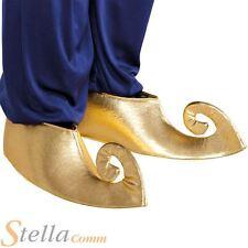 Gold Genie Shoe Covers Sultan Aladdin Fancy Dress Arabian Prince Costume