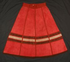 70s Skirt A Line Flared Genuine Suede Leather & Sweater Knit Hippy Boho 13-14