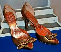 LUCA  STEFANI SMART ELEGANT BRONZE LEATHER SHOES UK 4 EU 37 US 6.5