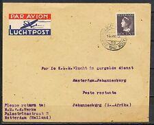 1e K.L.M. VLUCHT AMSTERDAM 15VIII.1947 JOHANNESBURG 19.VIII.47        Fc821