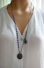 Lucky Brand Silver Tone Lapis Bead Blue Crystal Long Necklace Charm With Locket