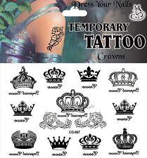 Crowns Black Assorted Temporary Body Tattoo - CG-007