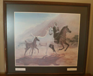 """MARY HAGGARD 1987 SIGNED FRAMED MATTED PRINT """"BRINGING HOME THE PRIZE"""""""
