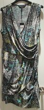BCBGMAXAZRIA LADIES JERSEY WRAP JERSEY BLACK BLUE PRINTED DRESS NEW SIZE M