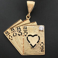 ALL THE ACES | XLG LUCKY CARD POKER HAND CASINO 14k GOLD GL Pendant |LIFE GUAR