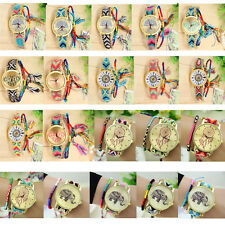1PC Women Fancy Handmade Rope Weave Knitted  Elephant Heart Pattern Wrist Watch