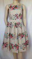 Laura Ashley Sommerkleid 36 38 beige rosa grün Rosen Erdbeeren Hochzeit Fifties