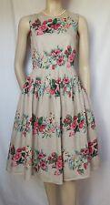 Laura Ashley Sommerkleid 36 beige rosa grün Rosen Erdbeeren Hochzeit Leinen