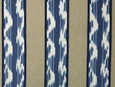 KRAVET RANJANI REFLECTION BLUE IKAT BALLARD RHODES STRIPE 100% LINEN FABRIC BTY