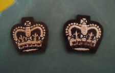 2 Padded Felt PATCHES Crown Shaped & Embroidered Cream, Grayish Brown, Appliques