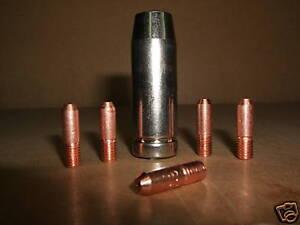 Clarke hobby mig gas shroud nozzle screw on & 5 x 0.6mm contact tips