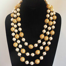 VINTAGE HEAVY LONG LAYERED PEARL NECKLACE GOLD PLATED MESH WRAP 191gr