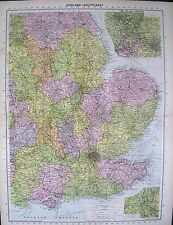 1934 LARGE MAP ~ ENGLAND SOUTH EAST insets THE BLACKCOUNTRY & POTTERIES
