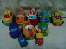 PARENTS BATTAT PULL BACK & RELEASE 10 PRESCHOOL BABY CARS SOFT VINYL LOT # 2