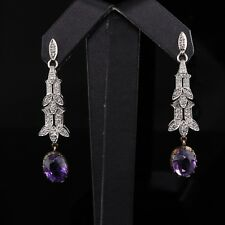 Antique Platinum Diamond and Amethyst Drop Earrings