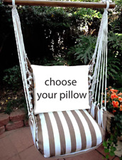 MAGNOLIA CASUAL HAMMOCK SWING SET - STRIPED CHOCOLATE Choose Your Pillow
