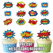 PRE-CUT Superhero Callout Speech Bubbles Edible Cup Cake Toppers (Pack of 36)