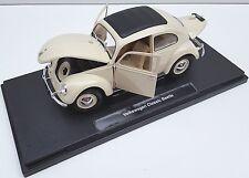 Spedizione LAMPO VW Classic Beetle Maggiolino Beige Welly Modello Auto 1:18 NUOVO & OVP