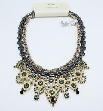 Fancy Gold & Hematite Rhinestone Statement Necklace by Punch Tags #sn3