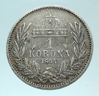 1894 HUNGARY w King Franz Joseph I Hungarian Antique Silver Korona Coin i78831