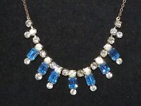 Lovely Vintage 1950s sparkly blue & clear glass rhinestone silver tone necklace