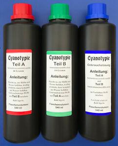1080 ml Cyanotypie Set, Cyanotype, Blaudruck, Blaufärben