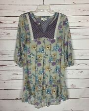 UMGEE Boutique Women's S Small Gray Purple Floral Fall Tunic Top Blouse Shirt