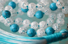 Cooling Crystal Quartz Turquoise Mala Beads Hand Knotted Mala 108 Yoga Beads
