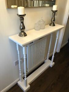 H95 W85 D25cm BESPOKE CONSOLE HALL TABLE WHITE SATIN