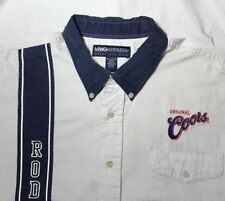 Vtg MWG Apparel Mens Western Rodeo Coors Shirt  XL 17 1/2 Khaki/Blue Embroidery
