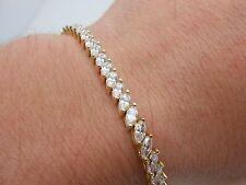 "Gorgeous Heavy 14k Solid Yellow Gold Diamonique DQCZ Marquise Tennis Bracelet 7"""