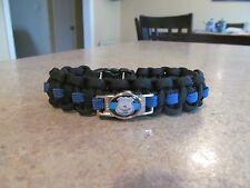 Police Thin Blue Line Badge Charm Paracord Bracelet - Handmade