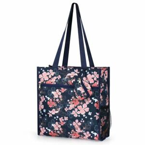 All Purpose Travel Shopping Zipper Tote Bag w/Coin Purse - Navy Pink Flower