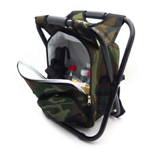 Foldable Outdoor Multi-Function Fishing Backpack Beach Chair Stool w/ Cooler Bag