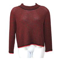 St John Sport By Marie Womens Red Black Knit Mock Turtleneck Sweater Top Size M