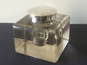 ANTIQUE EDWARDIAN SILVER AND GLASS DESK WEIGHT INKWELL. BIRMINGHAM 1909.