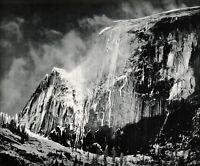 1950s Vintage ANSEL ADAMS Yosemite Half Dome Winter Snow Photo Gravure Art 12x16