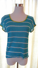 NWT hip Light Size XS Bright Blue Knit Shirt Top with White Stripes & Green Trim