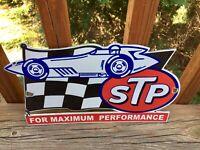 "Vintage STP Motor Oil Die Cut Heavy Porcelain Sign 12"" Gas & Oil Sign"